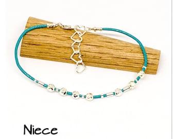 Niece - Morse code bracelet - Leather and sterling silver bracelet - hidden message bracelet