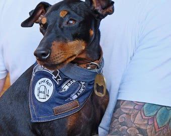 Denim Dog Bandana, Patched Dog Bandana, Blue Dog Bandana, Cool Dog Bandana, Rock Dog Bandana, Designer Dog Bandana
