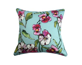 "Pillows with blue flowers ""Pink flowers"""
