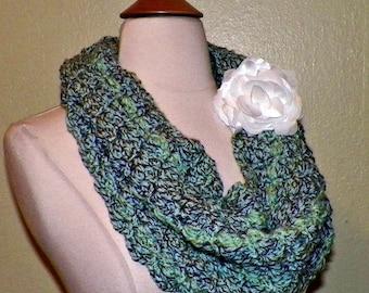 On Sale- Cowl Scarf Infinity Green Gray  Tweed Neckwarmer  Winter  With Flower Brooch