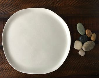 This Quiet Dust Collection Salad Plate, Irregular Shaped Salad Plate, Porcelain Plate, Dinnerware Plate