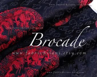 Red Dragon Black Brocade fabric