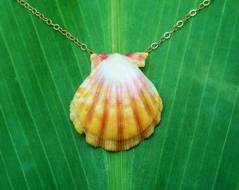 Bright yellow and light pink sunrise shell necklace
