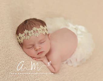 Shades of Glam - Lace Headbands - Baby, flower girl, bridal, special occasion, holiday, first birthday. Gold, Rose Gold or Silver.