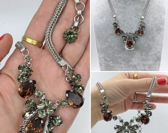 Circa 1950 stunning statement necklace, beautiful large stones, incredible condition!