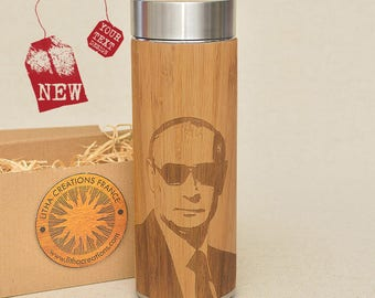 Customized Thermos Engraved Bamboo Wood PRESIDENT Stainless Steel with Screw Lid