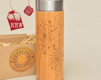 Customized Thermos Engraved Bamboo Wood DANDELION NOTES Stainless Steel with Screw Lid