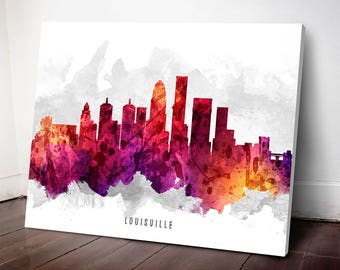 Louisville Skyline Canvas Print, Louisville Art, Louisville Cityscape, Louisville Art Print, Home Decor, Gift Idea, USKYLO14C