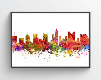 Columbus Skyline Poster, Columbus Cityscape, Columbus Print, Columbus Art, Columbus Decor, Home Decor, Gift Idea, USOHCO08P