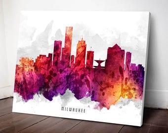 Milwaukee Skyline Canvas print, Milwaukee Art, Milwaukee Cityscape, Milwaukee Decor, Home Decor, Gift Idea, USWIML14C