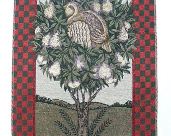 "Partridge in a pear tree tapestry fabric panel-13-1/2""x 20""-Christmas-Holiday decor"