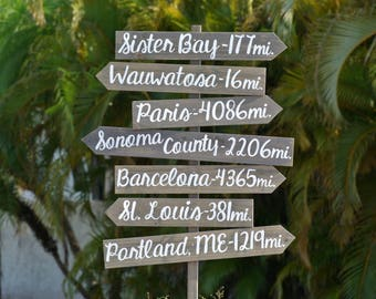 Yard Directional Destination Sign. Wooden Garden signpost. Housewarming Gift Idea, Wood Arrow sign for house
