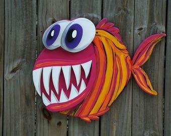 3D Angler Fish Wood Sign, Large Outdoor Wall Art Fish Decor, Patio Wall Decor, Beach house sign, Pool Deck Decor.