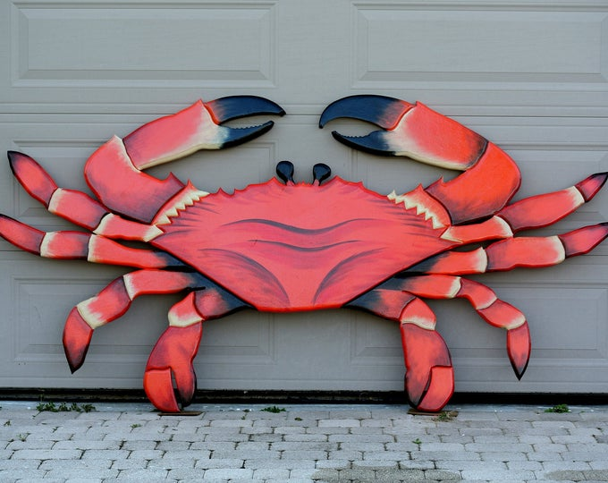 "Seafood Restaurant 96x48"" Red Crab sign. Crab Shack Wooden 3D sign. Restaurant decor sign. Custom seafood sign."