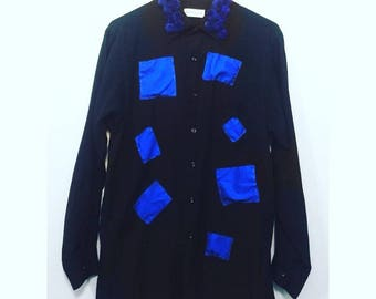 Blue Puff Black Button Up
