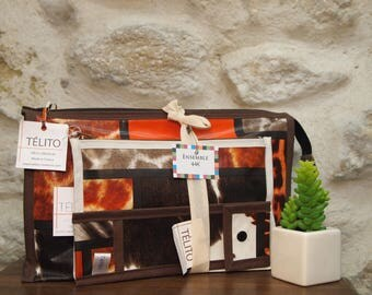 Set (XL toiletry pouch + toothbrush case) oilcloth fur