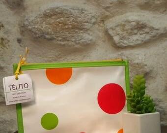 Multicolor polka dot oilcloth pouch