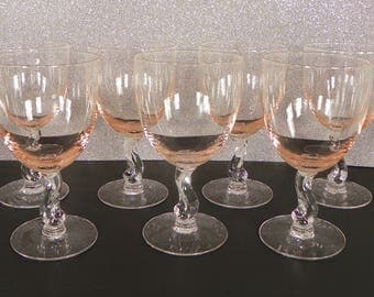 Fostoria Contour Pink Crystal Water Goblet (s) LOT OF 7 Glass