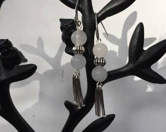 White Jade bead Earrings