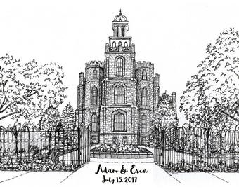 Logan Temple print. Pen and ink Logan LDS Temple drawing. Personalized wedding venue portrait. Custom drawing in ink. Wedding gift