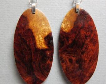 Unique Afzelia Burl Exotic Wood Dangle Earrings ExoticWoodJewelryAnd handcrafted ecofriendly