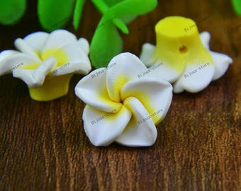 Set of 6 small flowers in polymer clay 20mm yellow white heart (SZ012)