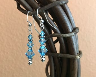 Aquamarine Swarovski Earrings, light blue earrings, March birthstone