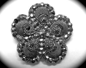 Antique Button ~ Medium Victorian Era Black Glass w Silver Luster Floral Design