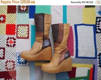 MID SUMMER SALE vintage 90's Mega platform patchwork leather boots // 90's does 60's go-go boots // futuristic cyber grunge club kid hippie