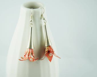 Earrings ' Lily origami paper flowers