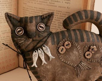 Primitive Cat Lover Gift Folk Art Textile doll Primitive decor Halloween Cat collectible primitive handmade animal