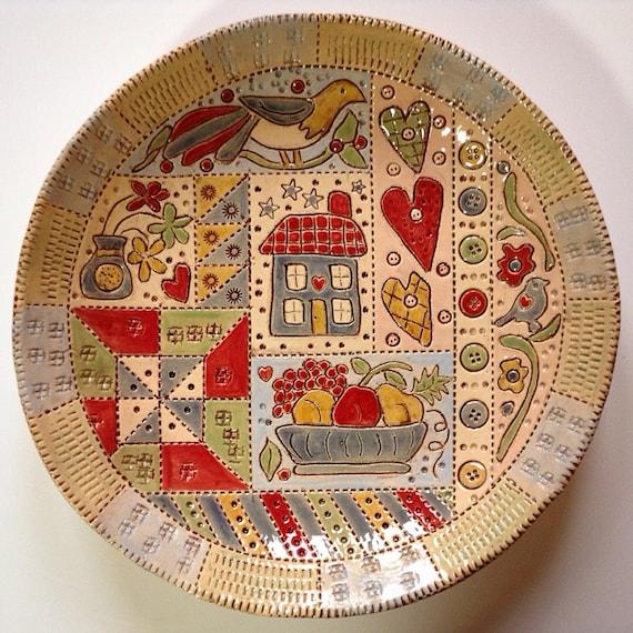 Handmade Ceramic Patchwork Patterned Bowl, applique style, quilt bowl, folk art