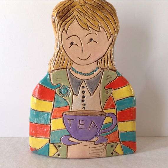 IN STOCK: Lady with Cuppa.  Handmade ceramic bust, mini-bust, Colourful People, collectible, one of a kind