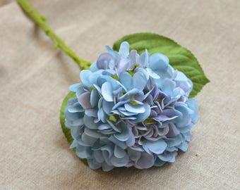 Dusty Pale Blue Grey Hydrangeas Real Touch Hydrangeas for Silk Wedding Bridal Bouquets Centerpieces Decorative Flowers