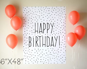 "Printable Birthday Poster, Digital Download, 36""x48"", Party Banner, Printable Poster"