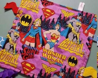 Wonder Woman Batgirl Supergirl Minky Ribbon Tag Sensory Toy /Female Superhero Comic Book / Crinkle / Lovey Blanket / Baby Girl Shower /