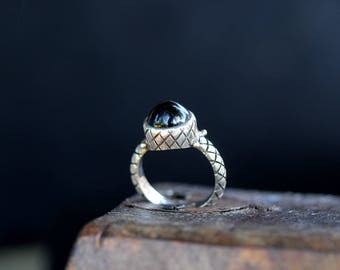 Sterling Silver Black Onyx Ring / size (6.3/4)