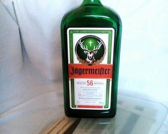 Glass Collectible Empty Green Bottle Flask liqueur Jägermeister CAP Bar Accessories peculiar bottle shape Label cross antlers of a stag 1l
