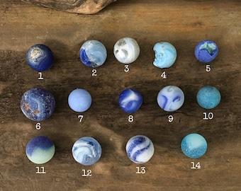 Genuine Sea Glass Marbles Blue Swirl, Cobalt, Aqua, Turquoise, Sea Foam - Beach Glass Jewelry Supplies - Eco Friendly // LN34