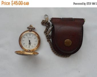 ON SALE Vintage Miyota Laser Quartz Pocket Watch/Silver Metal Pocket Watch/Leather Watch with Chain Case/Unadjusted Pocket Watch Made in Jap