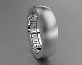 Silver 6mm Brushed Mens Wedding Band, Sterling Silver Wedding Ring with Until Death Hidden Message, Simple Style Wedding Ring Solid Silver