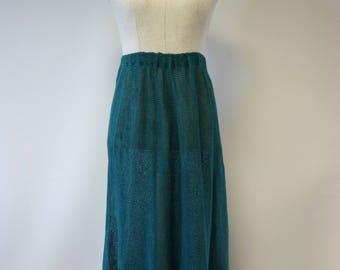 Transparent green linen long skirt, L size.