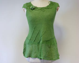 Girlish Summer grass green linen top, S size.