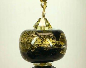 Pendant, hanger, chain pendant, glass bead Black Gold 24 ct. Swarovski, 5 cm