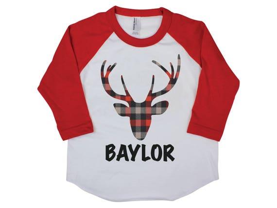 Plaid Deer Shirt Personalized Boy Shirt Buffalo Plaid Deer Boy Baby Shirt Boy Baby Onesie Boy Bodysuit Boy Raglan Shirt Red Plaid Shirt