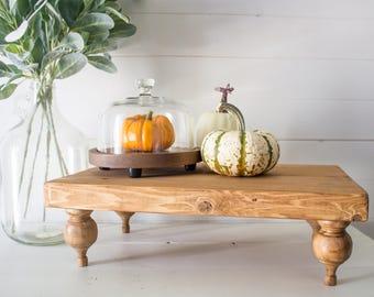 Farmhouse Riser PedestalTray   Rustic Wood Plank Farmhouse Style Riser /  Tray / Centerpiece / Decor