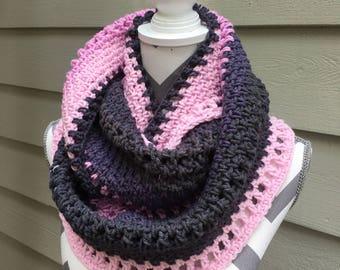 Beautiful Colorblock Cowl, Crochet Infinity,Knit Cowl,Crochet Infinity Scarf,Spring Scarf, Scarf,Pink and Gray Scarf,Pink Infinity,Gray Cowl