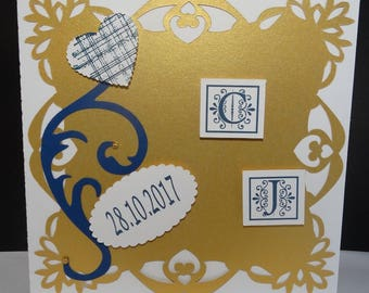 Vintage wedding invitation while effect