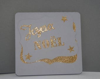 Merry Christmas white and gold tag card