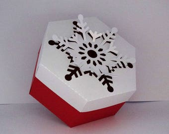 Christmas box hexagonal White Snowflake